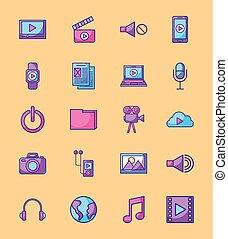 set, rete, media, multimedia, domanda, disegno, sociale, icona