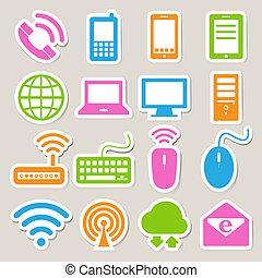set, rete, mobile, congegni, computer, connections., icona