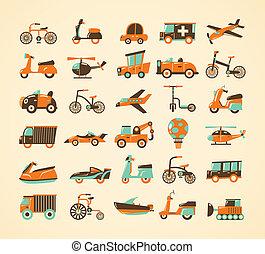 set, retro, trasporto, icone