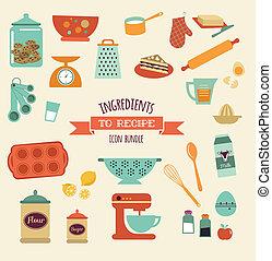 set, ricetta, vettore, cucina, disegno, icona