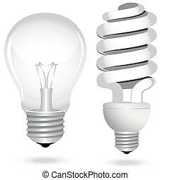 set, risparmio, elettricità, luce, energia, lampada, bulbo