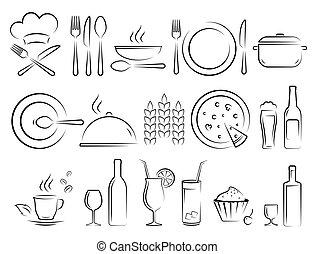 set, ristorante, icone, mano, disegnato, bianco