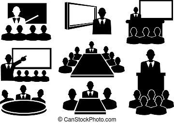 set, riunione, affari, icona
