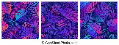 set, rosa, seamless, ultravioletto, neon, modelli, esotico, riflessioni, colori, tropicale, vettore, blu, piante, foglie, tonalità