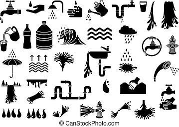set, rubinetto, gocciolina, lavandino, nuvola, icone, irrigazione, -, waterfall), ombrello, idrante, elementi, fuoco, lattina, vetro acqua, (design, cucina, doccia, vettore, pioggia, testa