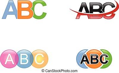 set, sagoma, abc, disegno, lettera, logotipo, elementi