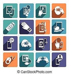 set, salute, digitale, icone
