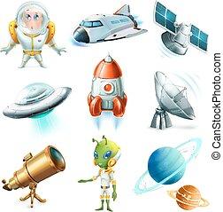 set, satellite., ufo, pianeta, spazio, astronauta, vettore, astronave, 3d, icona