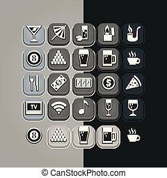 set, sbarra, icone