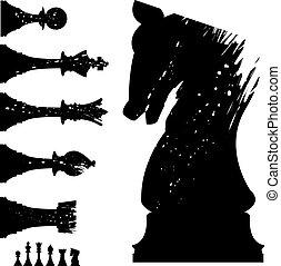 set, scacchi, grunge
