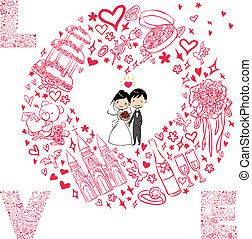 set, scheda, matrimonio