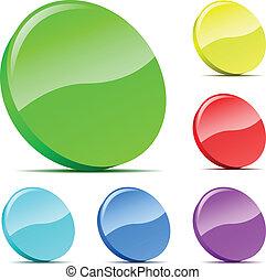 set, scheggia, icons., varicolored, vettore, 3d