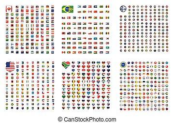 set, scudo, -, illustrato, quadrato, bandiere, mondo, sentire, cerchio