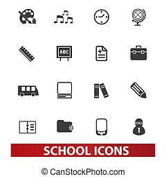 set, scuola, vettore, icone