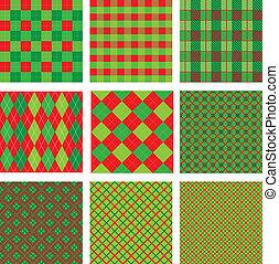 set, seamless, modelli, colori, plaid, verde, anno, nuovo, natale, rosso