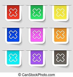 set, segno., etichette, moderno, variopinto, vettore, annullare, icona, tuo, design.