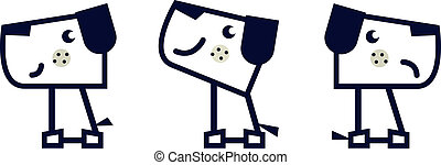 set, semplice, cane, isolato, geometrico, bianco