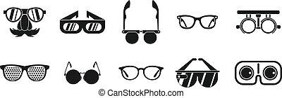 set, semplice, stile, occhiali, icona