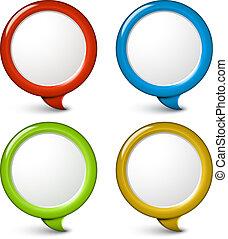 set, semplice, vettore, bolle, rotondo, 3d
