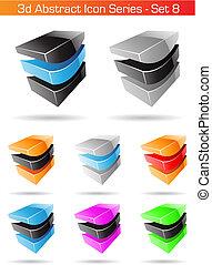 set, serie, astratto, -, 8, icona, 3d