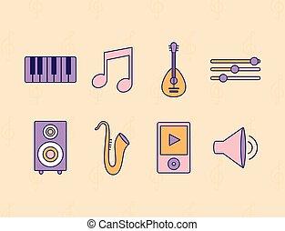 set, sfondo giallo, icone, musica