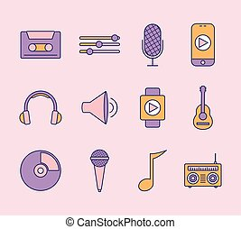 set, sfondo rosa, icone, musica
