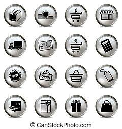 set, shopping, argento, icone