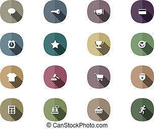 set, shopping, mobile, lungo, retro, linea, uggia, icona