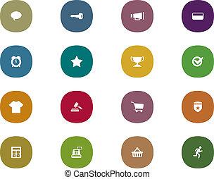 set, shopping, mobile, retro, linea, interfaccia, icona