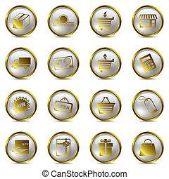 set, shopping, oro, icone