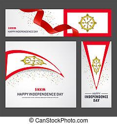 set, sikkim, fondo, bandiera, giorno, indipendenza, felice