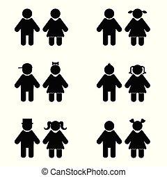set, silhouette, bambini, illustrazione