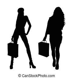 set, silhouette, illustrazione, borsa, carta, ragazza
