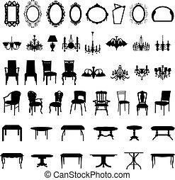 set, silhouette, mobilia