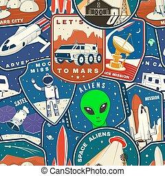 set, silhouette., modello, fondo, terra, razzo, spazio, straniero, città, colorito, seamless, luna, furgone, marte, campeggiatore, carta da parati, pezze, vector., missione
