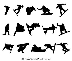 set, silhouette, snowboarde, uomo