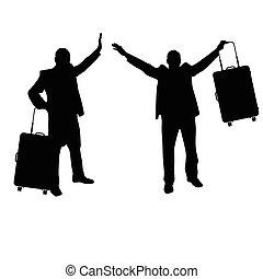 set, silhouette, viaggiare, illustrazione, borsa, uomo nero