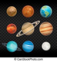 set, sistema, pianeta, realistico, vettore, solare, icona