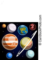 set, sistema solare, pianeti