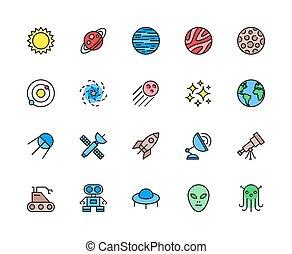 set, sistema, sole, icons., solare, linea, spazio, galassia, astronomia, more., colorare