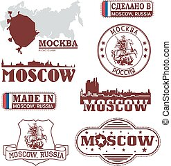 set, skylines, -, mosca, emblemi, russia