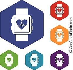 set, smartwatch, icone