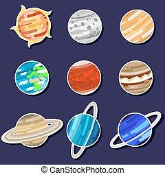 set., solare, pianeti, illustration., icona, vettore, cartone animato, sistema