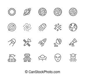 set, solare, spazio, sistema, icons., galassia, stelle, linea, sole, more., cosmo