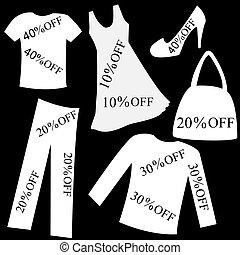 set, sopra, percento, indietro, vendita, scontare, nero, bianco, abbigliamento