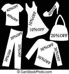 set, sopra, percento, vendita, scontare, sfondo nero, bianco, abbigliamento