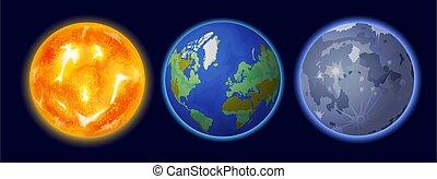 set, spazio, pianeta, realistico