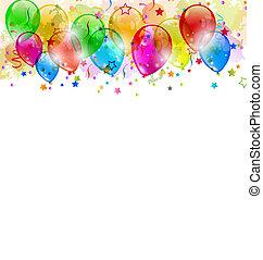 set, spazio, testo, festa, coriandoli, palloni