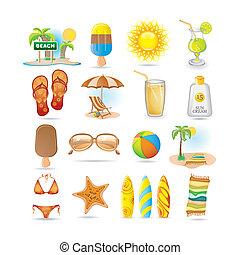 set, spiaggia, icona