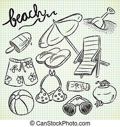 set, spiaggia, roba